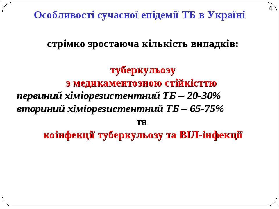 Особливості сучасної епідемії ТБ в Україні стрімко зростаюча кількість випадк...