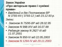Закон України «Про авторське право і суміжні права» Введений в дію Постановою...