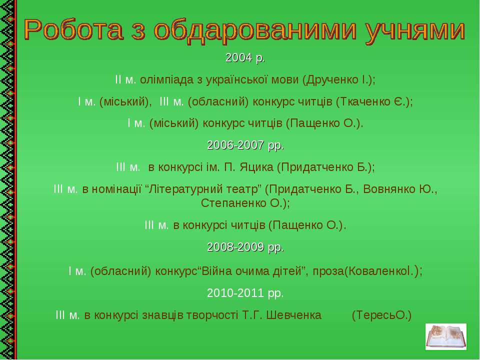 2004 р. ІІ м. олімпіада з української мови (Друченко І.); І м. (міський), ІІІ...