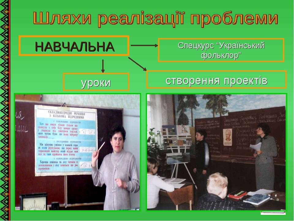 """НАВЧАЛЬНА уроки Спецкурс """"Український фольклор"""" створення проектів"""