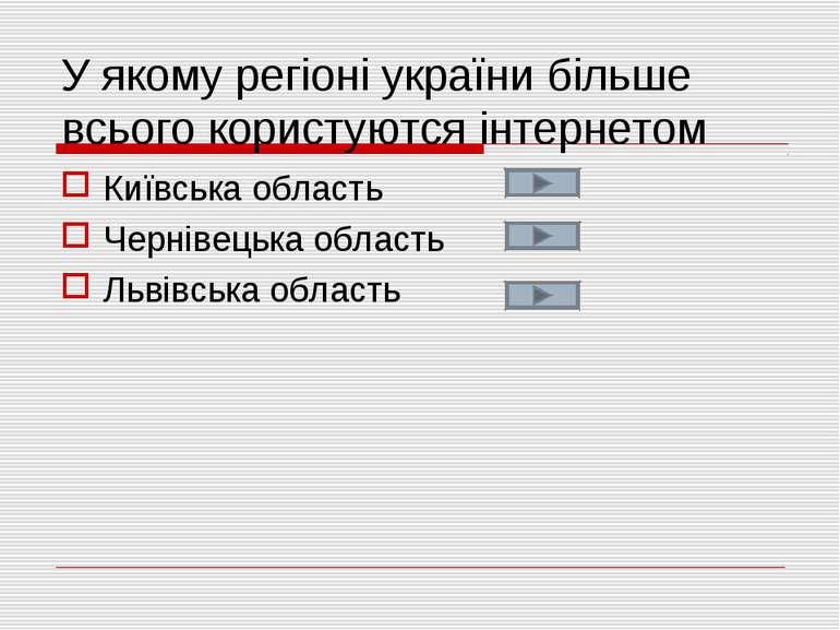 У якому регіоні україни більше всього користуются інтернетом Київська область...