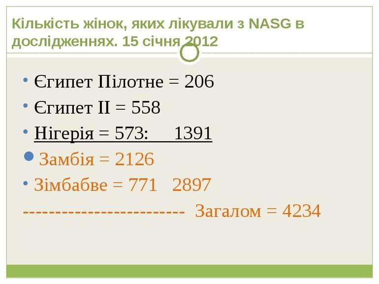 Кількість жінок, яких лікували з NASG в дослідженнях. 15 січня 2012 Єгипет Пі...