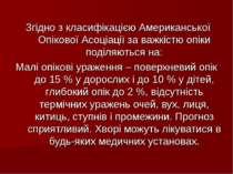 Згідно з класифікацією Американської Опікової Асоціації за важкістю опіки под...