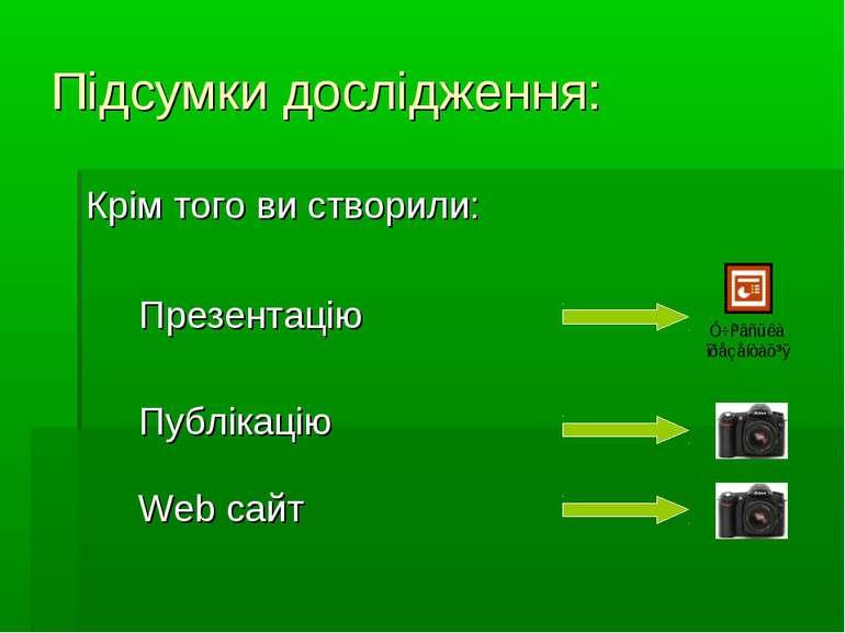 Підсумки дослідження: Крім того ви створили: Презентацію Публікацію Web сайт