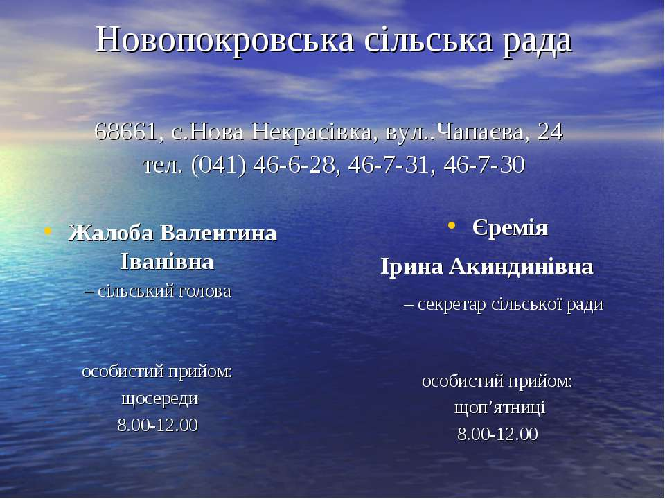 Новопокровська сільська рада 68661, с.Нова Некрасівка, вул..Чапаєва, 24 тел. ...