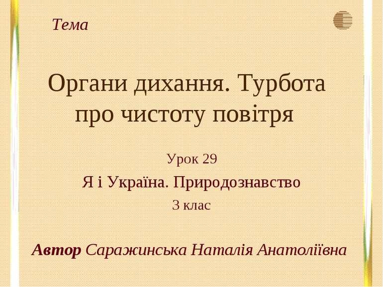 Органи дихання. Турбота про чистоту повітря Урок 29 Я і Україна. Природознавс...
