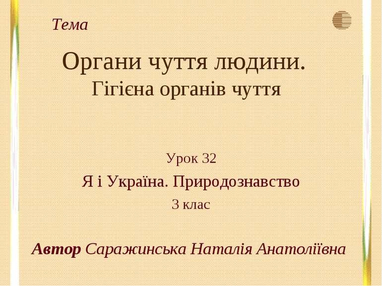 Органи чуття людини. Гігієна органів чуття Урок 32 Я і Україна. Природознавст...