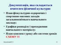 Качуровський В.С. * Документація, яка складається вчителем фізичної культури:...