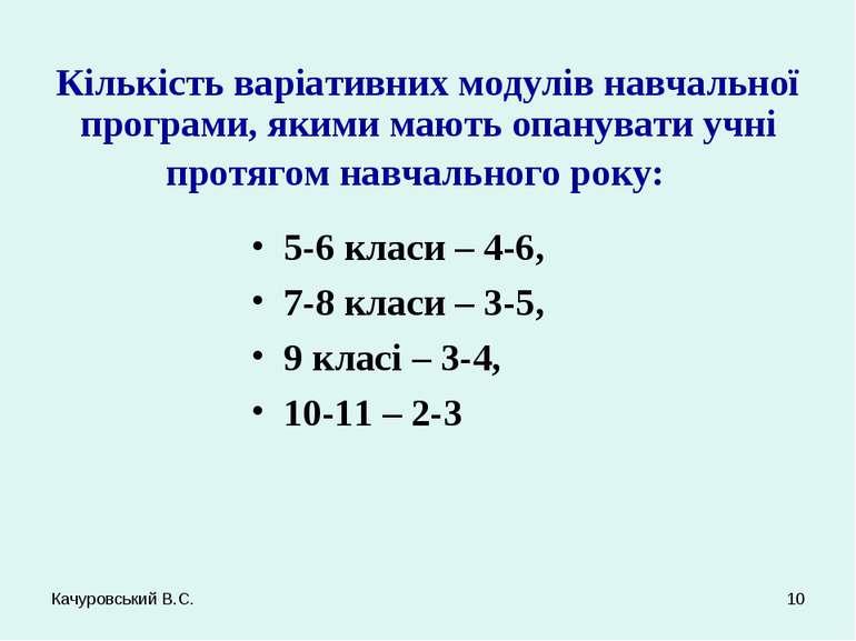 Качуровський В.С. * Кількість варіативних модулів навчальної програми, якими ...