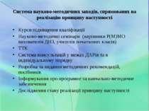 Система науково-методичних заходів, спрямованих на реалізацію принципу наступ...