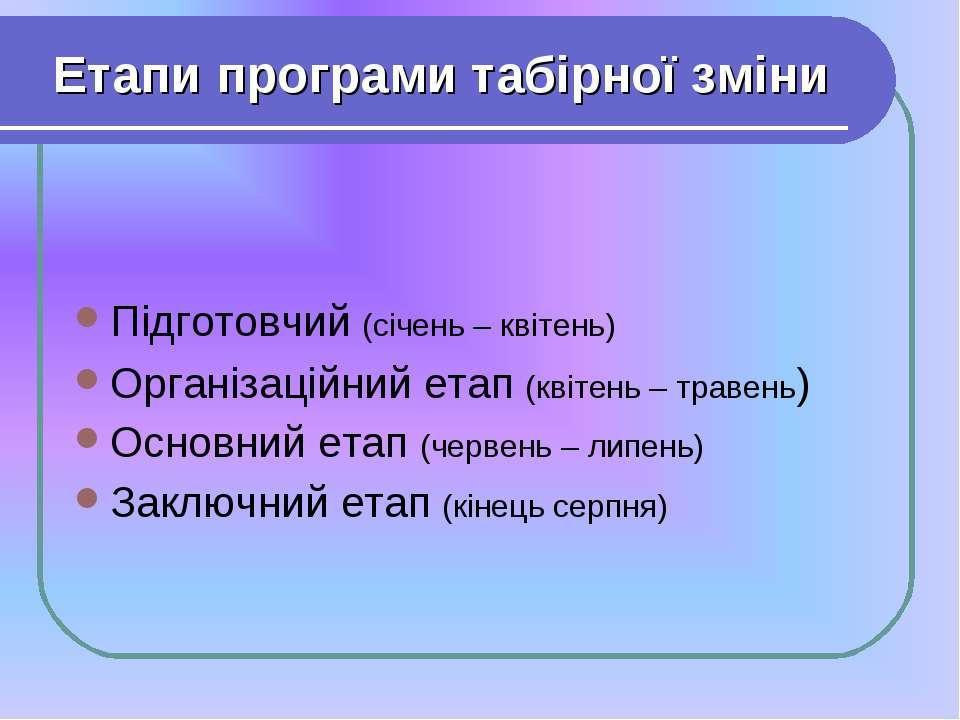 Етапи програми табірної зміни Підготовчий (січень – квітень) Організаційний е...