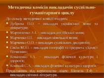 Методична комісія викладачів суспільно-гуманітарного циклу До складу методичн...