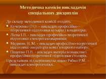 Методична комісія викладачів спеціальних дисциплін До складу методичної коміс...