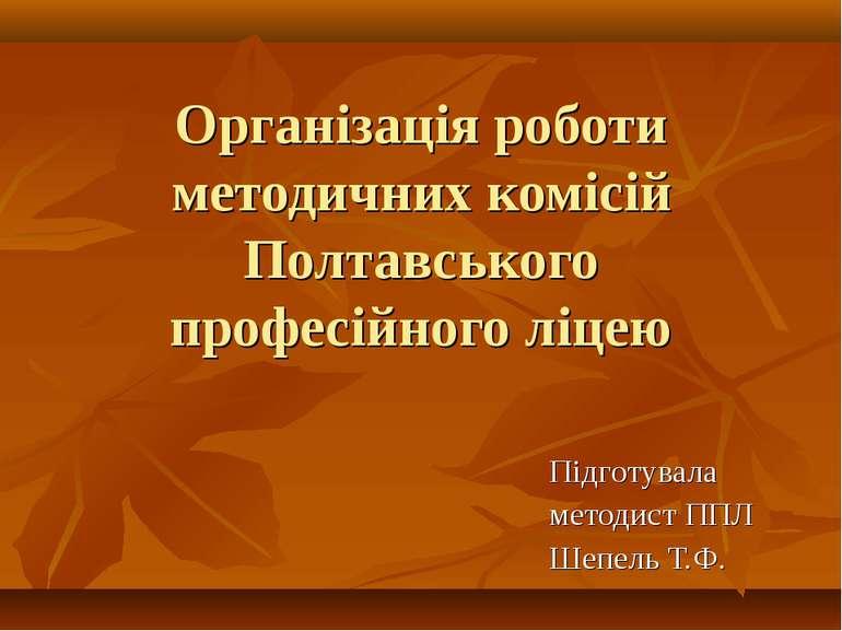 Організація роботи методичних комісій Полтавського професійного ліцею Підготу...