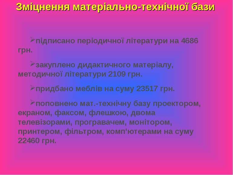 Зміцнення матеріально-технічної бази підписано періодичної літератури на 4686...