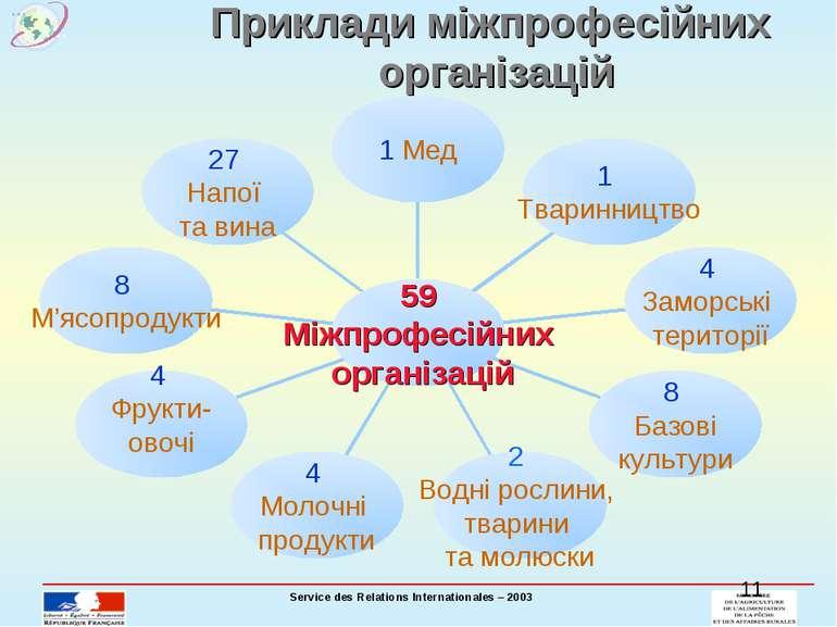 Приклади міжпрофесійних організацій Service des Relations Internationales – 2003