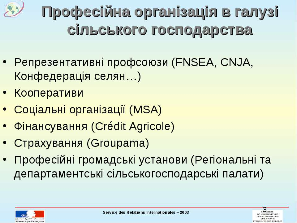 Професійна організація в галузі сільського господарства Репрезентативні профс...