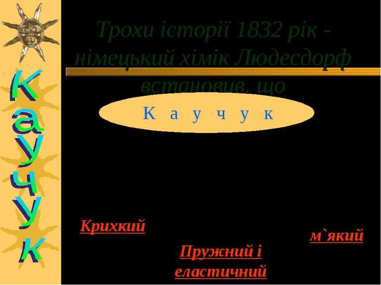 Трохи історії 1832 рік - німецький хімік Людесдорф встановив, що К а у ч у к ...