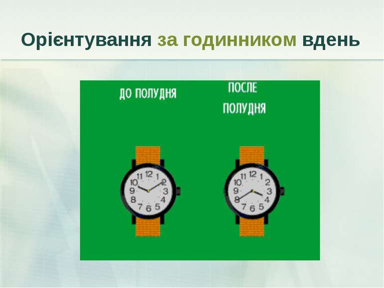 Орієнтування за годинником вдень