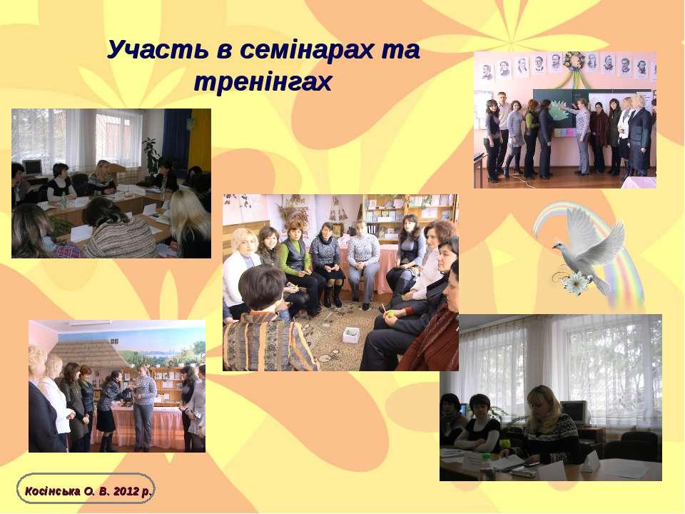 Участь в семінарах та тренінгах Косінська О. В. 2012 р.