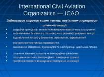 International Civil Aviation Organization — ICAO Займається широким колом пит...