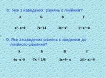 8. Яке з наведених рівнянь є лінійним? 9. Яке з наведених рівнянь є зведеним ...