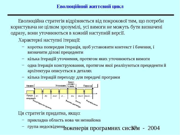 Еволюційний життєвий цикл Еволюційна стратегія відрізняється від покрокової т...