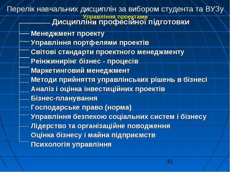 Перелік навчальних дисциплін за вибором студента та ВУЗу Управління проектами...