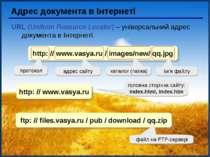Адрес документа в Інтернеті URL (Uniform Resource Locator) – універсальний ад...