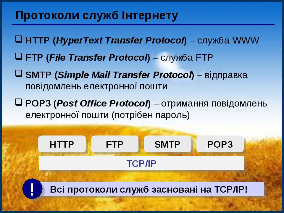 Протоколи служб Інтернету HTTP (HyperText Transfer Protocol) – служба WWW FTP...