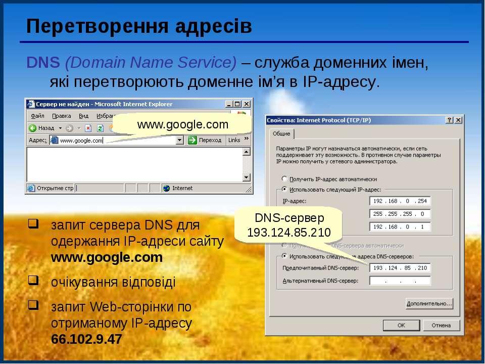 Перетворення адресів DNS (Domain Name Service) – служба доменних імен, які пе...