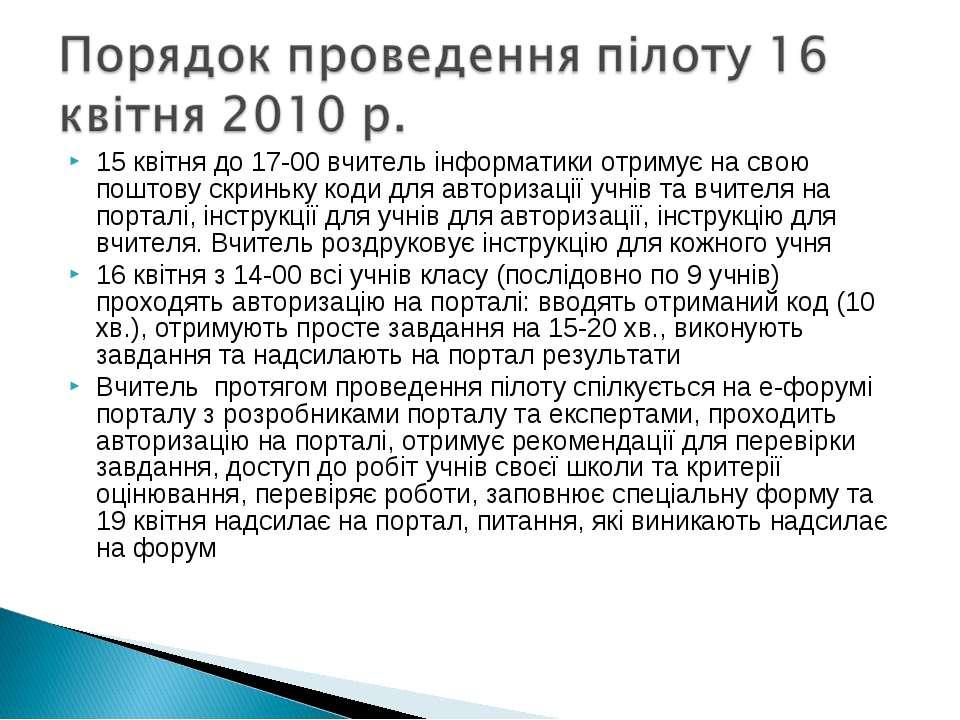 15 квітня до 17-00 вчитель інформатики отримує на свою поштову скриньку коди ...