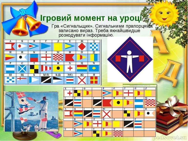 Ігровий момент на уроці Гра «Сигнальщик». Сигнальними прапорцями записано вир...
