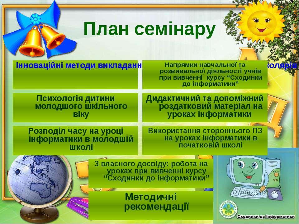 План семінару Інноваційні методи викладання інформатики у молодших школярів П...