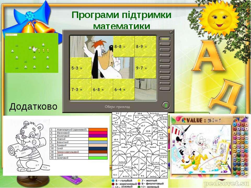 Програми підтримки математики Додатково
