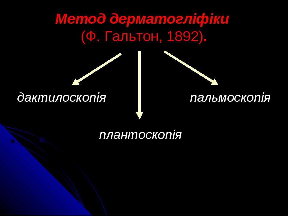 Метод дерматогліфіки (Ф. Гальтон, 1892). дактилоскопія пальмоскопія плантоскопія