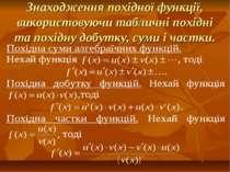Знаходження похідної функції, використовуючи табличні похідні та похідну добу...