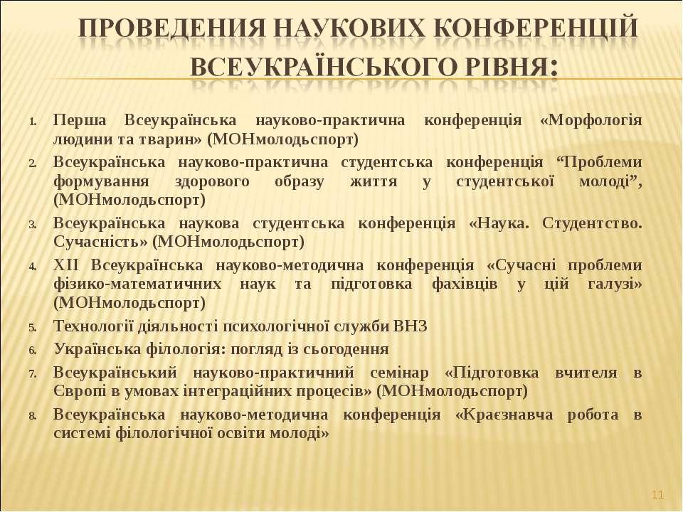 Перша Всеукраїнська науково-практична конференція «Морфологія людини та твари...