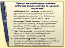 Провідні викладачі кафедри суспільно-політичних наук, глобалістики та соціаль...