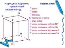 На рисунку зображено прямокутний паралелепіпед. грани ребра вершини протилежн...