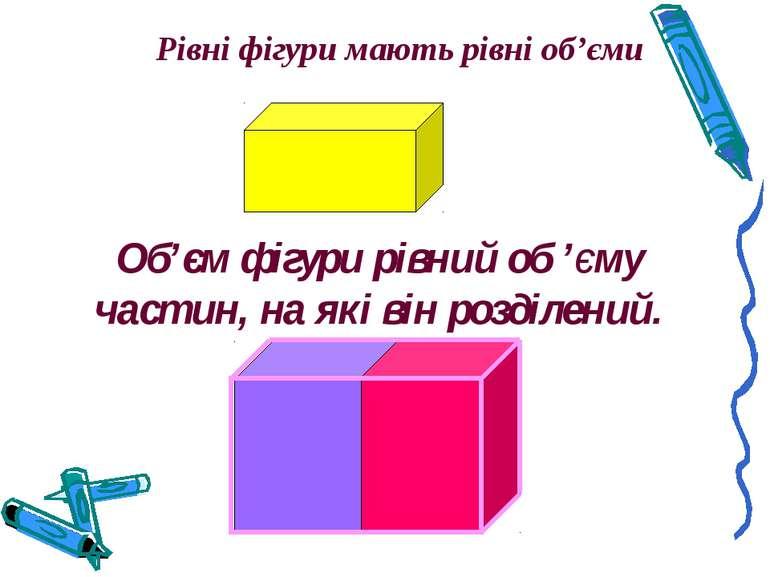 Рівні фігури мають рівні об'єми Об'єм фігури рівний об 'єму частин, на які ві...