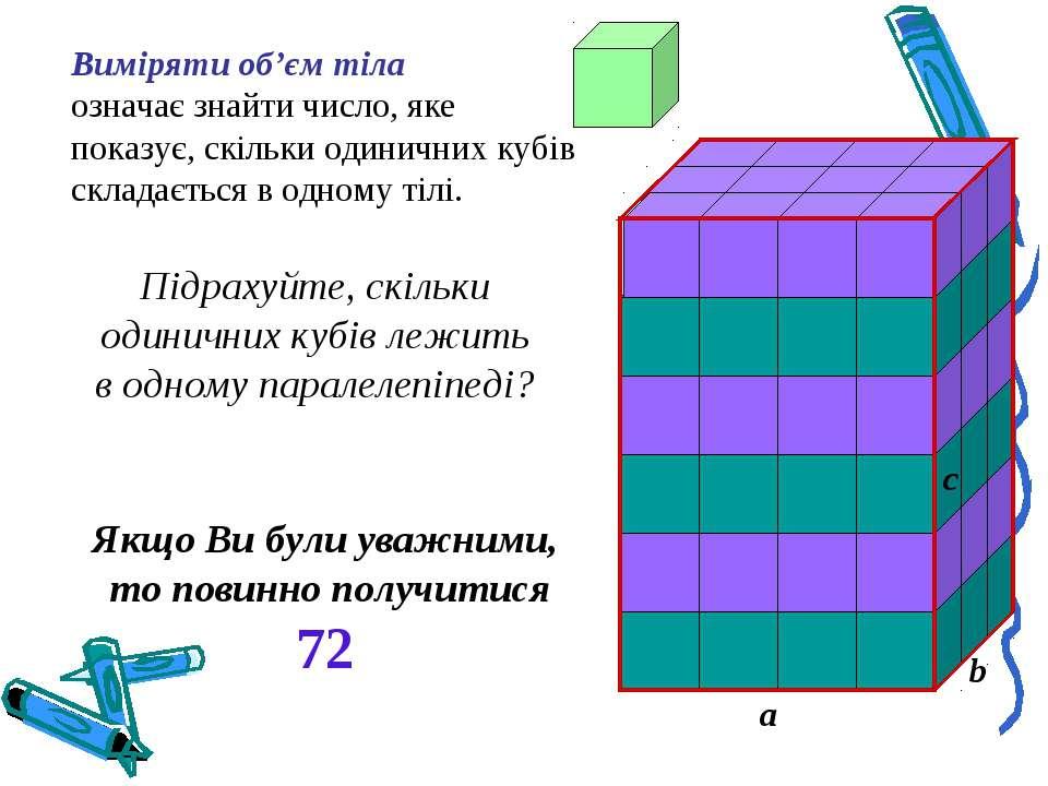 Виміряти об'єм тіла означає знайти число, яке показує, скільки одиничних кубі...