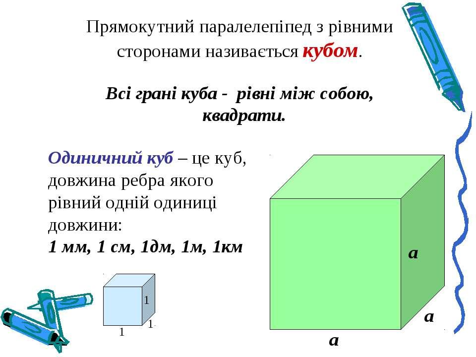 Прямокутний паралелепіпед з рівними сторонами називається кубом. Всі грані ку...