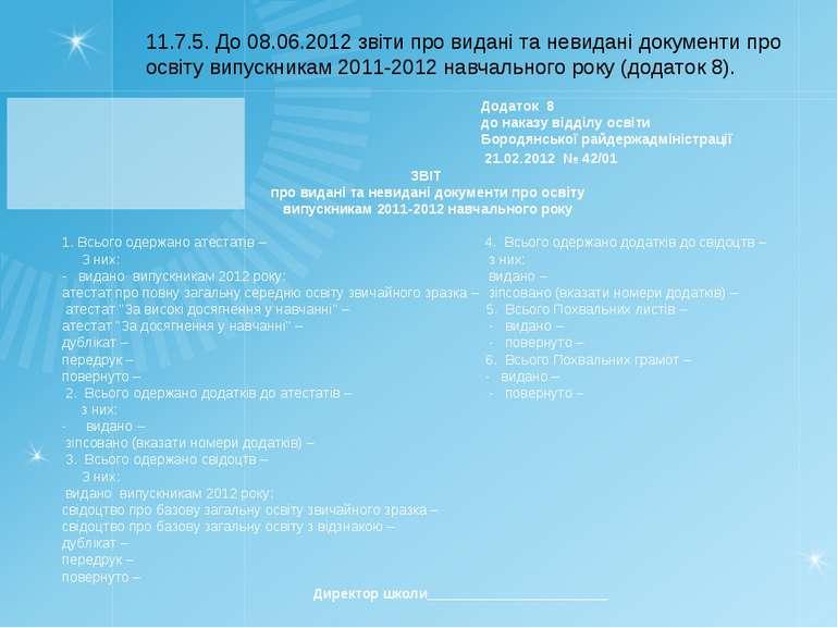 11.7.5. До 08.06.2012 звіти про видані та невидані документи про освіту випус...