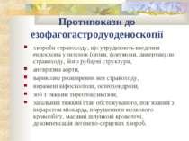Протипокази до езофагогастродуоденоскопії хвороби стравоходу, що утруднюють в...