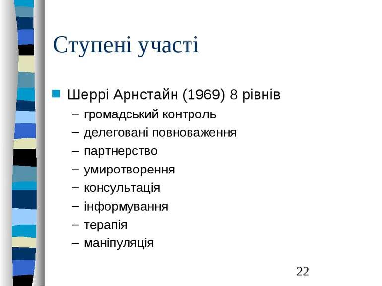 Ступені участі Шеррі Арнстайн (1969) 8 рівнів громадський контроль делеговані...