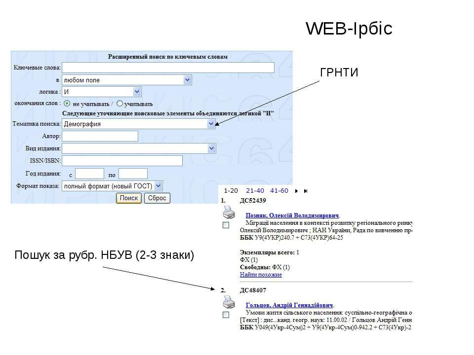 WEB-Ірбіс ГРНТИ Пошук за рубр. НБУВ (2-3 знаки)