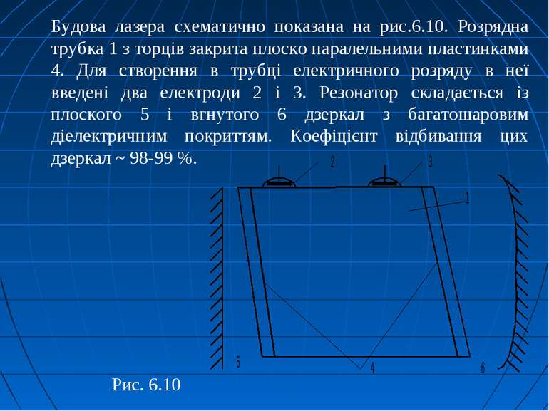 Будова лазера схематично показана на рис.6.10. Розрядна трубка 1 з торців зак...