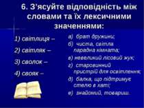 6. З'ясуйте відповідність між словами та їх лексичними значеннями: 1) світлиц...