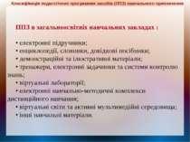 ППЗ в загальноосвітніх навчальних закладах : • електронні підручники; • енцик...